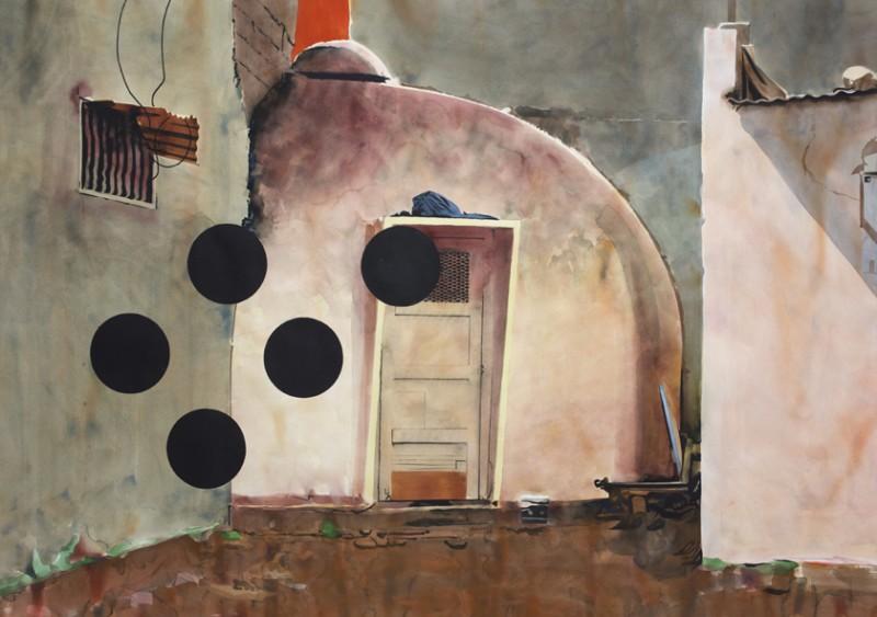 Yvan Salomone, 0805-0812_Dominhalter, 2012, aquarelle sur papier, 105 x 145 cm. Collection Frac Languedoc-Roussillon. © Adagp, Paris 2016