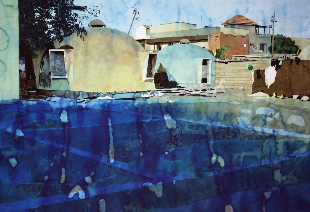 Yvan Salomone, 0724-0410_Exspatiatus, 2012-2013, aquarelle sur papier, 102 x 143 cm. Collection Frac Occitanie Montpellier. © Adagp, Paris 2017