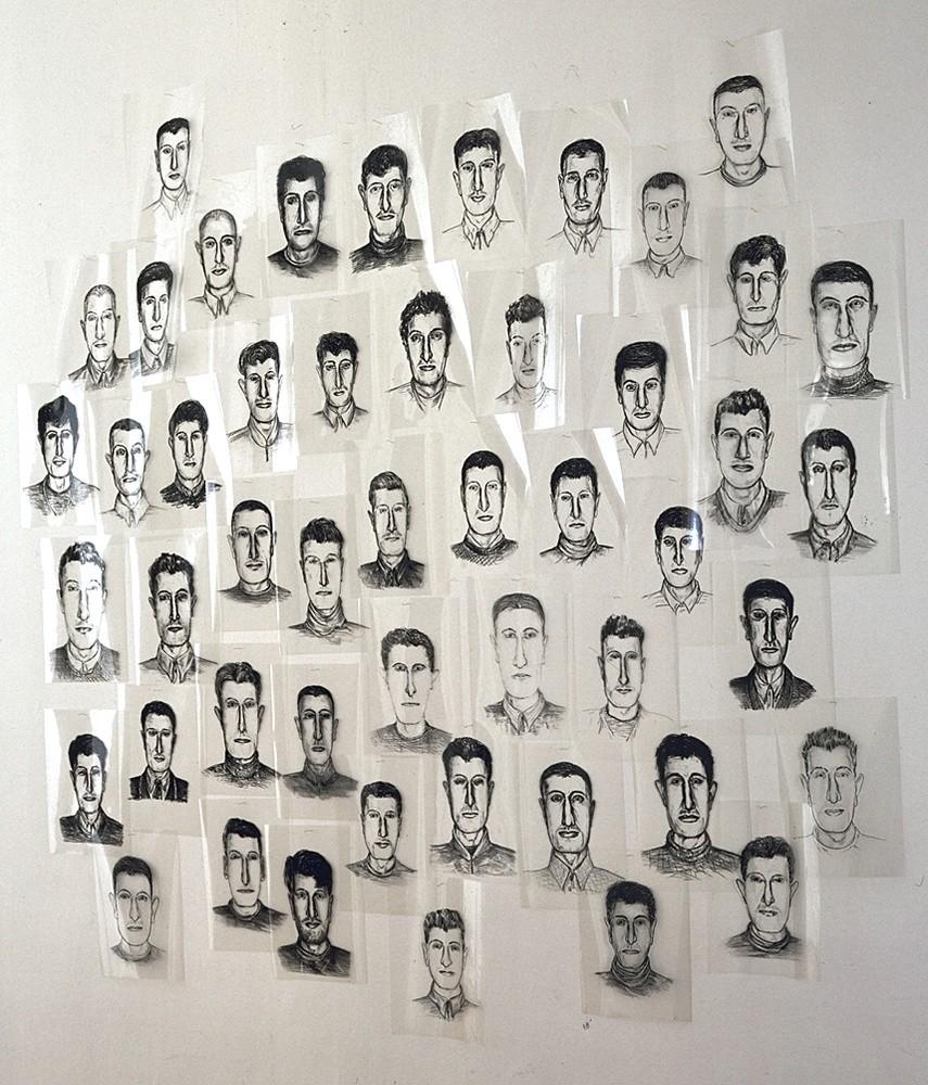 Maurizio Cattelan, Il Super-noi, 1993, 48 portraits, encre sur acétate, 180 x 180 cm. Collection Frac LR. Photographe Marc Domage. © Adagp, Paris 2016
