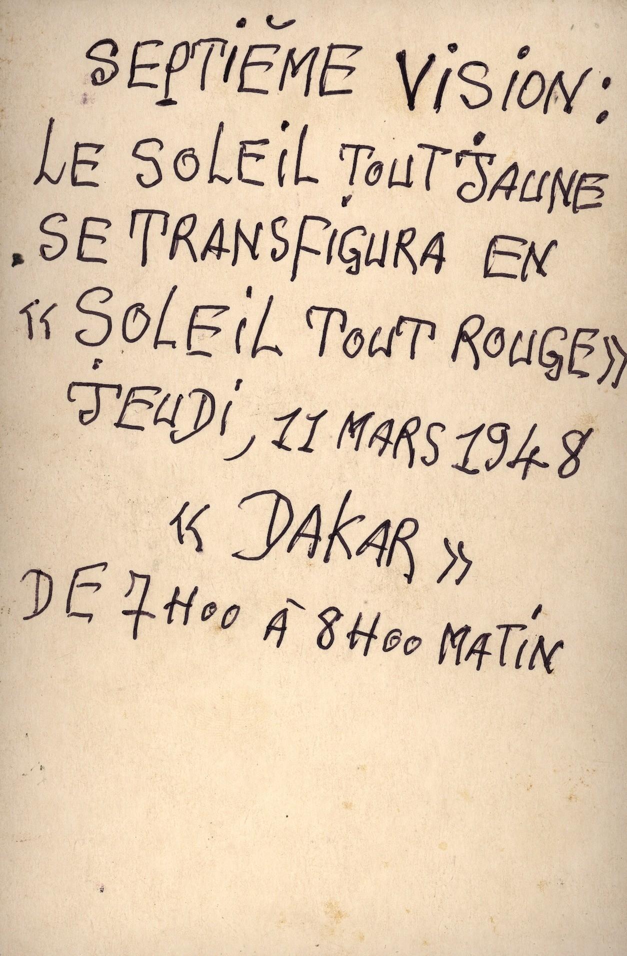 Frédéric Bruly Bouabré, Vision solaire dans l'ordre des persécutés en date du 11 mars 1948, 1995, crayons de couleur et encre sur carton, 10 x (16,5 x 11 cm) - Collection Frac Occitanie Montpellier. Photo Jean-Luc Fournier