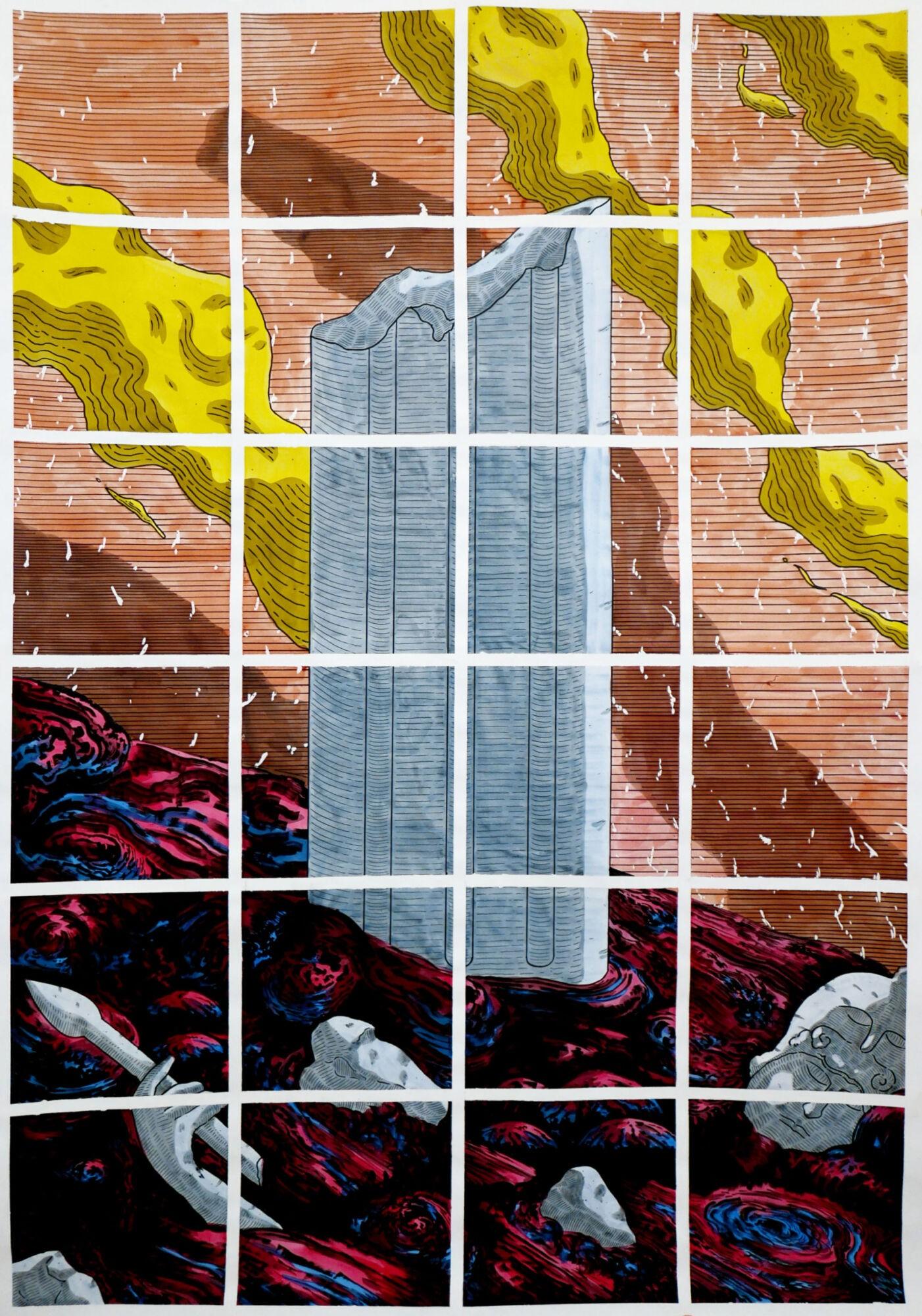 Jimmy Richer, Entropia, feutre noir, encres, 200 x 130 cm, 2020